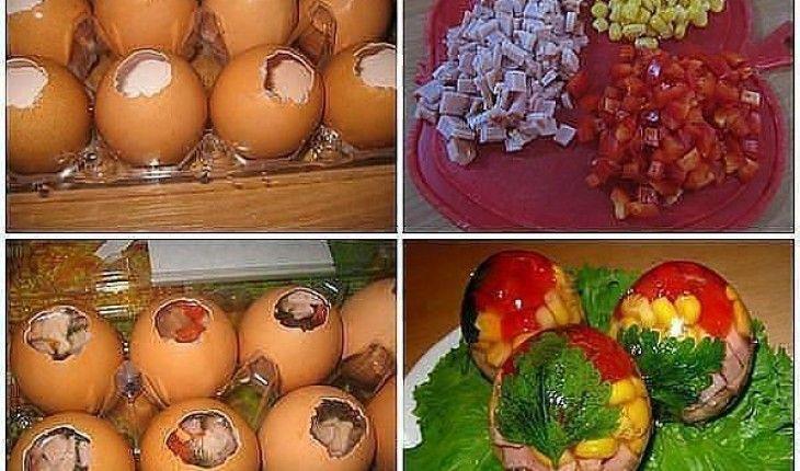 Rzeczy, których potrzebujesz: 7 jajek szynka 100 g filetów z kurczaka groszek konserwowy kukurydza konserwowa papryka czerwona 2 łyżki żelatyny natka pietruszki Przygotuj wszystkie składniki. Ugotuj filet z kurczaka. Do zrobienia galaretek będziesz potrzebować 1 szklankę bulionu. Żelatynę zalej 100ml przegotowanej, zimnej wody (wody ma być drugie tyle co żelatyny), wymieszaj i pozostaw w miseczce przez czas podany na opakowaniu. Jajka umyj w ciepłej wodzie. Zrób otwory w jajkach, o średnicy…