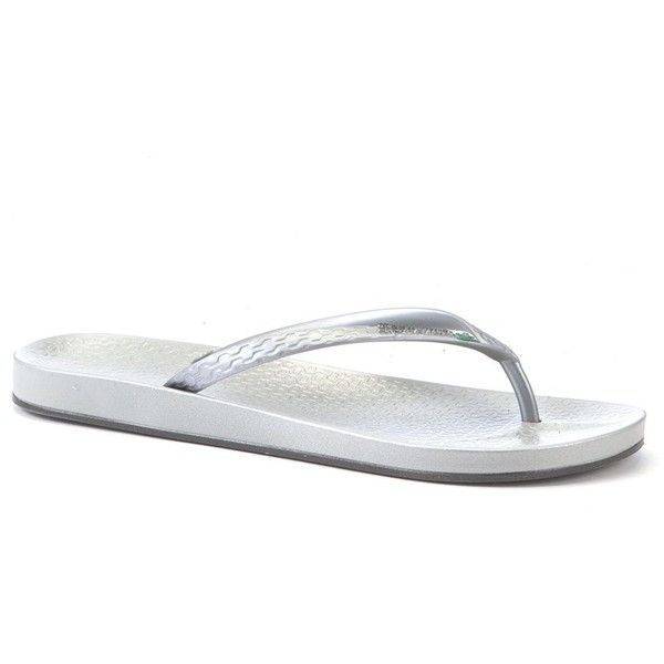 Ipanema Silver Beach Flip Flops (1.065 RUB) ❤ liked on Polyvore featuring shoes, sandals, flip flops, silver, silver flip flops, black shoes, summer flip flops, ipanema flip flops and beach footwear