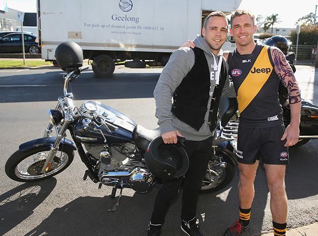 Jake King and Jake King (Joel Selwood) at Geelong's Wacky Wednesday Celebrations, 2014.