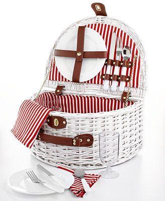 Martha Stewart Collection White Wicker Picnic Basket for 2