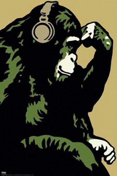 Обезьяна мыслитель ретро плакат, Домашнего декора стикер стены 20 x 30 дюйм(ов) бесплатная доставка J197