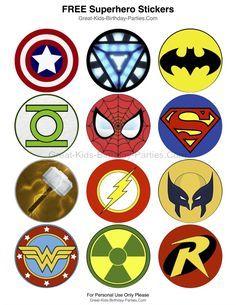 Superhero-Printables - Superhero autocollants gratuits, chaque mesure 2,5 pouces (6,4 cm).  Beaucoup de plaisir utilise notamment des autocollants, des hauts de forme de petit gâteau, cotillons, des prix et plus encore.