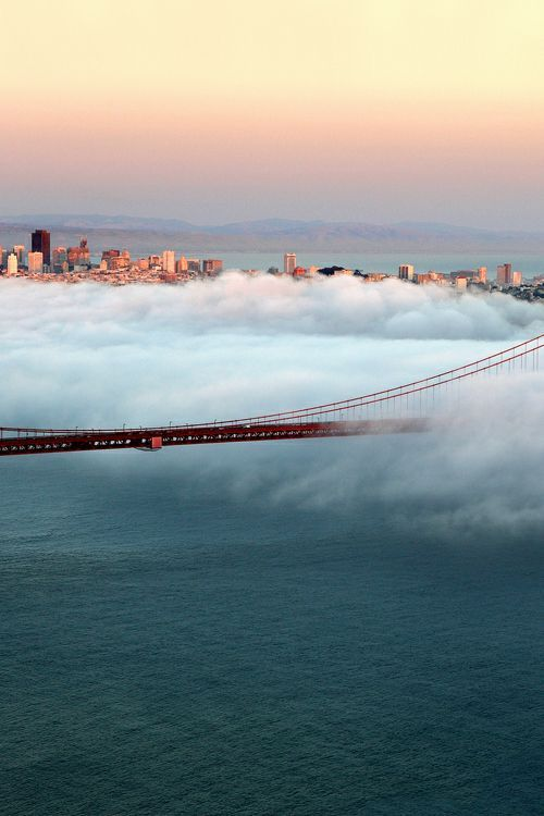 San Francisco Bridge covered in clouds... sigh! #travel #takemethere