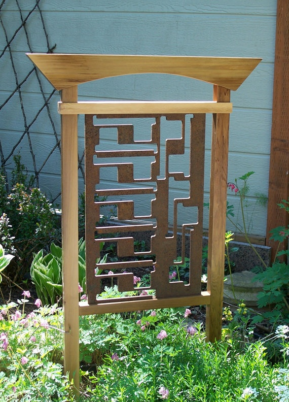 Garden Decor Steel And Cedar Trellis Garden Art By MiscKDesigns, $265.00