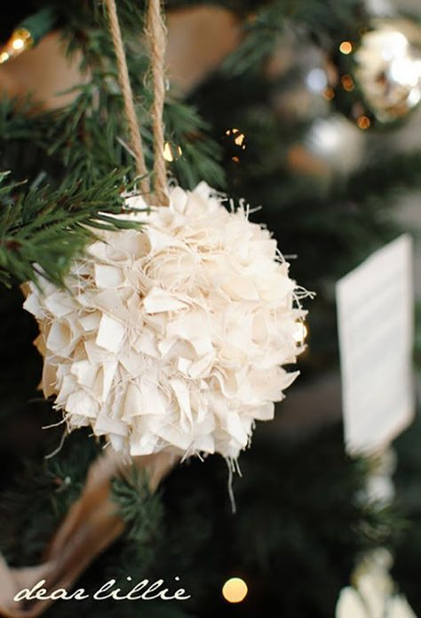 From Rags to Riches Ornament - 23 Homemade Christmas Ornaments | Inexpensive DIY Holiday Decor by Pioneer Settler at http://pioneersettler.com/homemade-christmas-ornaments/