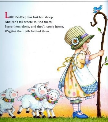Little Bo Peep --> use of illustration and text together, like how there has been a gradient of colour used