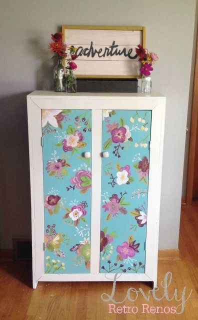 retro floral painted cabinet, painted furniture