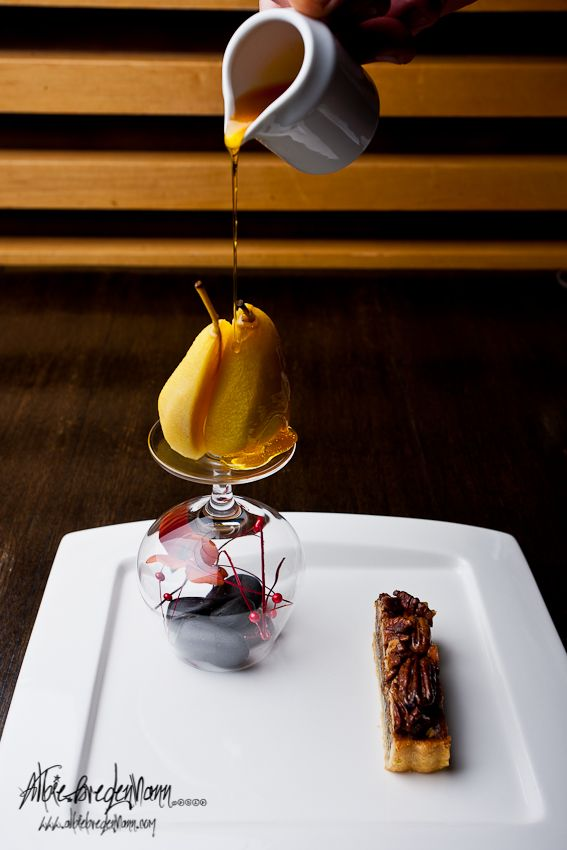 Poached pear, Photography by Albie Bredehann
