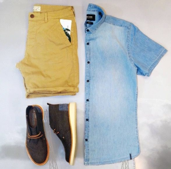 Weekend Ready!   #fashion #shoes #toms #springwear #shorts #menswear #denim #footwear #new #love  Shop this look at www.kixs.ca