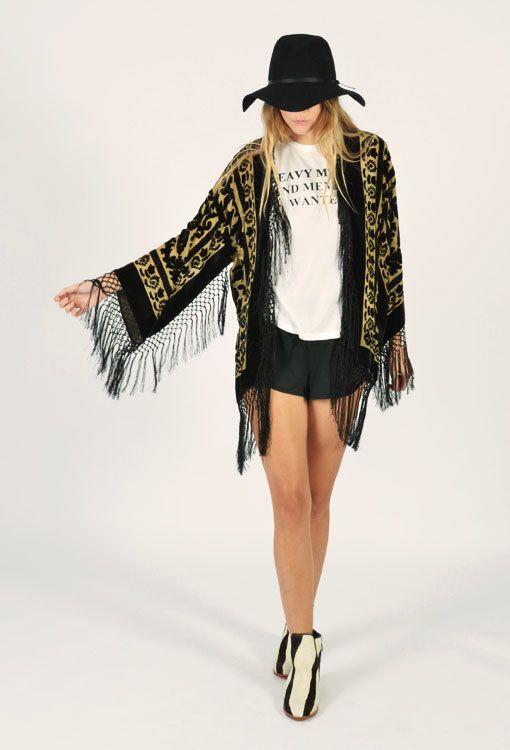 Kite and Bird Silk Fringe Kimono ~ Cream - The Freedom State - Bohemian Inspired Online Store