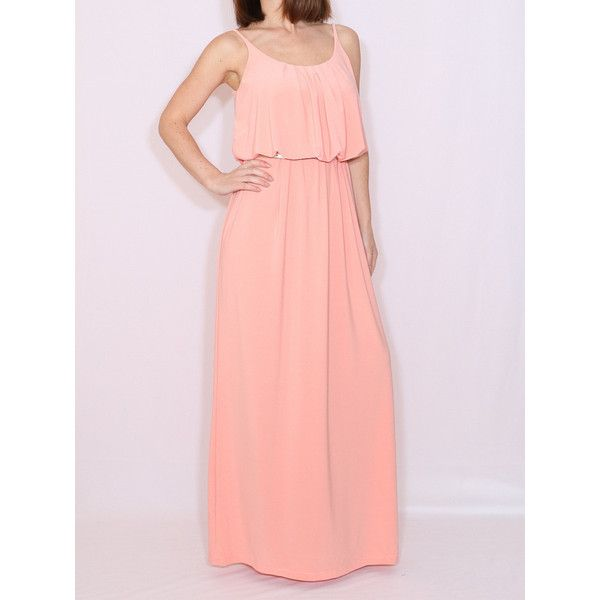 Light Peach Bridesmaid Dress Long Grecian Goddess Dress Maxi Dress ($45) ❤ liked on Polyvore featuring dresses, gowns, light pink, women's clothing, light pink maxi dress, peach bridesmaid dresses, bridesmaid gown, long gowns and pink bridesmaid dresses
