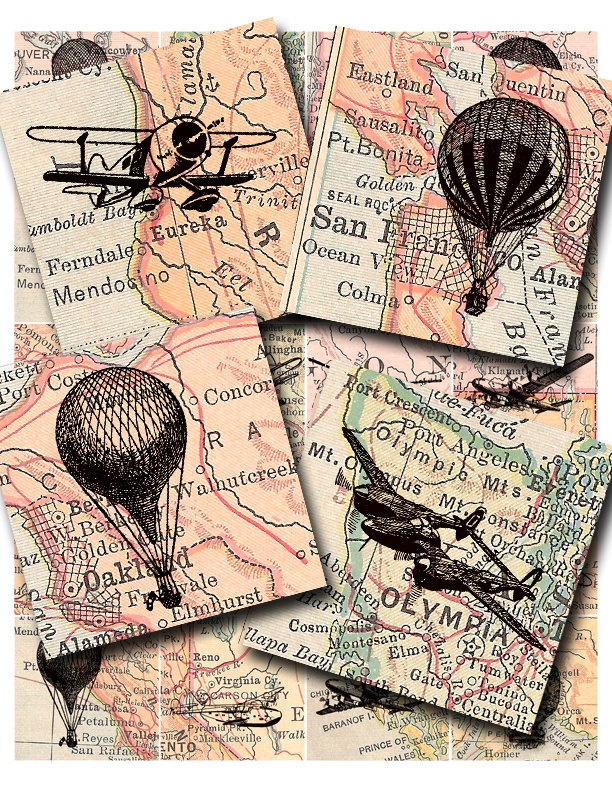 old airplanes and hot air balloons..... collage sheet no.  179. $3.00, via Etsy.