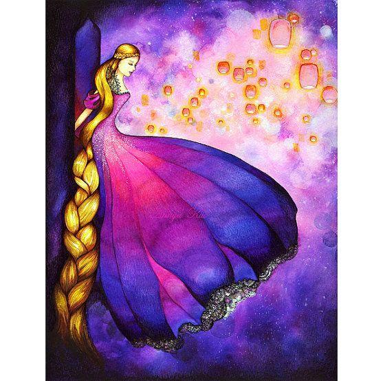 I just LOVE how she uses color...  Rapunzel  Dark Fairytale Fantasy  Lantern Scene by annya127