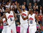 Kevin Durant of the USA celebrates during match against France