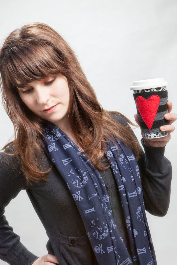 From #DEAF13 artisan Heart's Haven, a Skull Infinity Scarf in Blue Jersey Knit and a heart-themed coffee cozy.