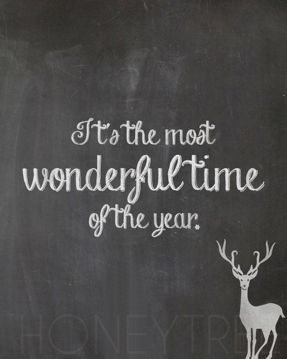 """Cute & inexpensive Chistmas decor!! Chalkboard Print- 8x10 Christmas Holidays """"It's the most wonderful time of the year"""" reindeer quote chalkboard style print"""
