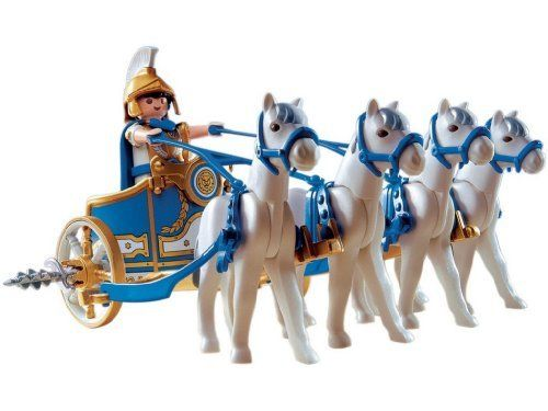 Playmobil Chariot Roman by Playmobil. $34.99. Contains one playmobil roman figure and four horses. Comes with removable spoke destroyers at the wheels.