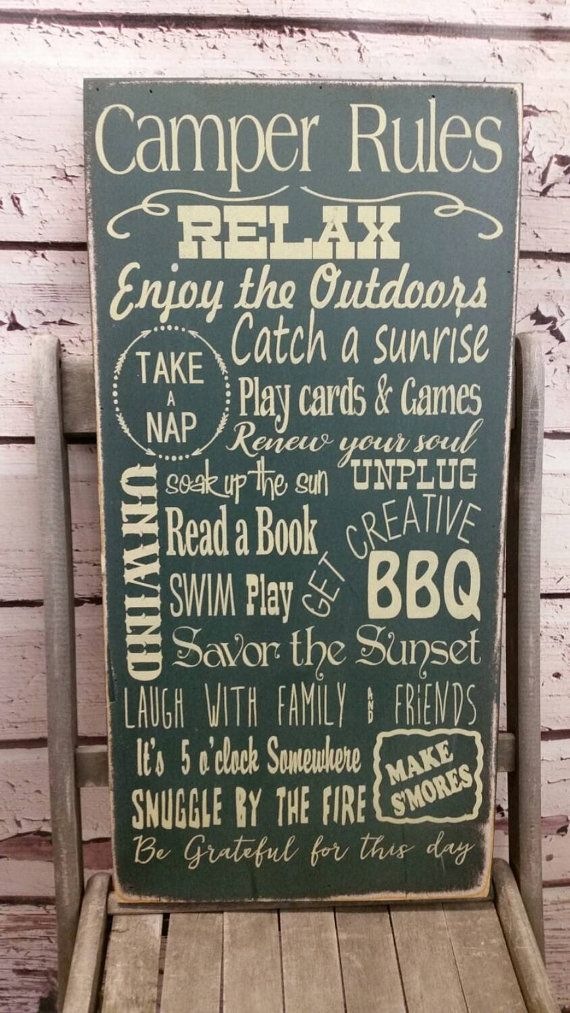 Camping Sign Camping Decor Camping Rules Glamping Rules