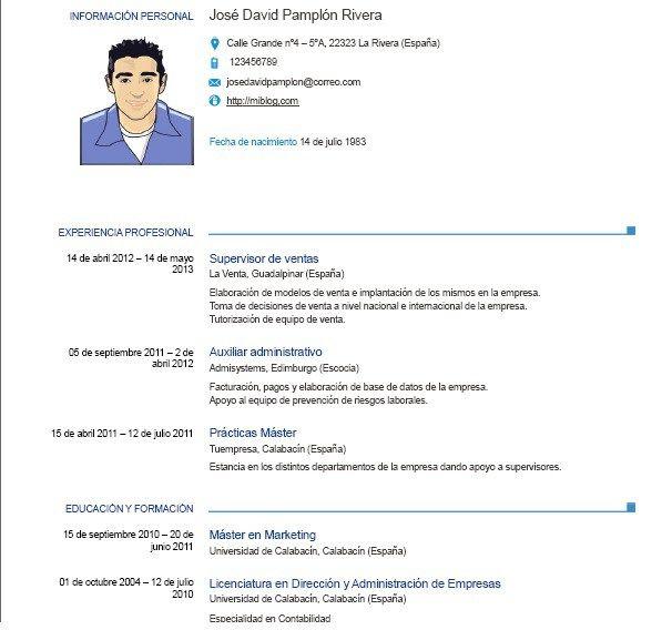 M Odelo De Curriculum Vitae Europeo Modelos De Curriculum Vitae