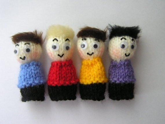 The Wiggles Handknitted Finger Puppets by kazzalblue on Etsy, $13.00