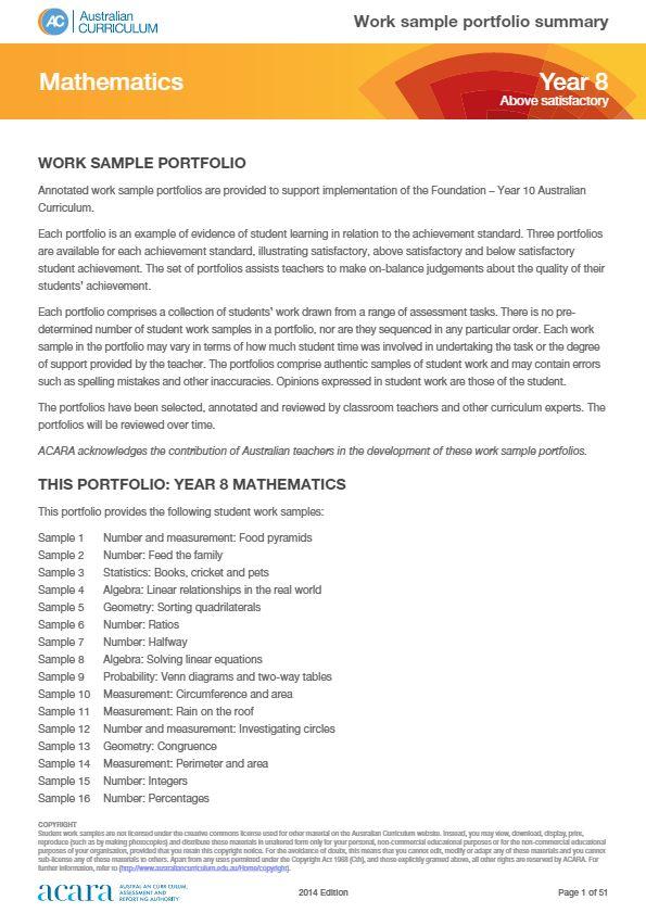 Year 8 Mathematics work sample portfolio - above satisfactory