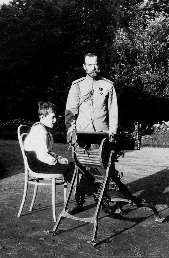 Tsarevich Alexei Nikolaevich with his father Nicholas II of Russia