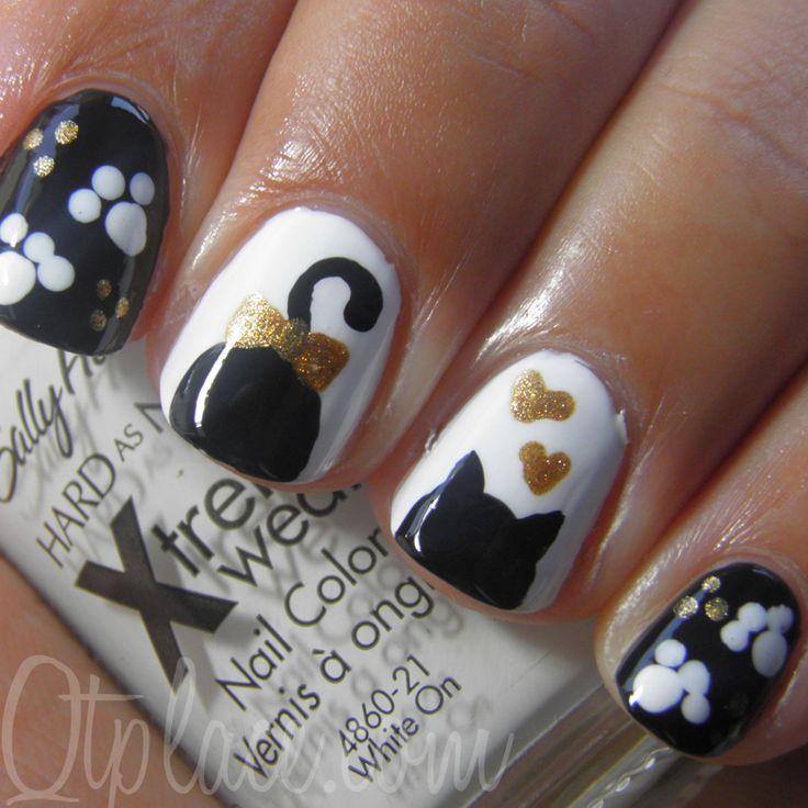 Cute cat silouhette nail art tutorial + pics   Qtplace