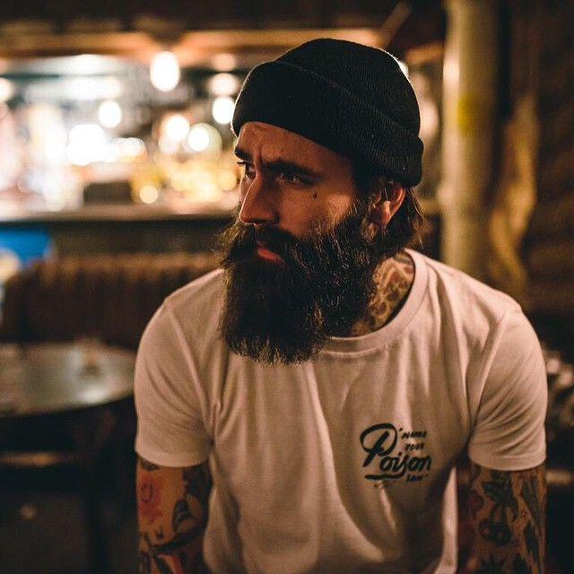 Ricki Hall - full thick dark beard and mustache beards bearded man men mens' style tattoos tattooed bearding #beardsforever