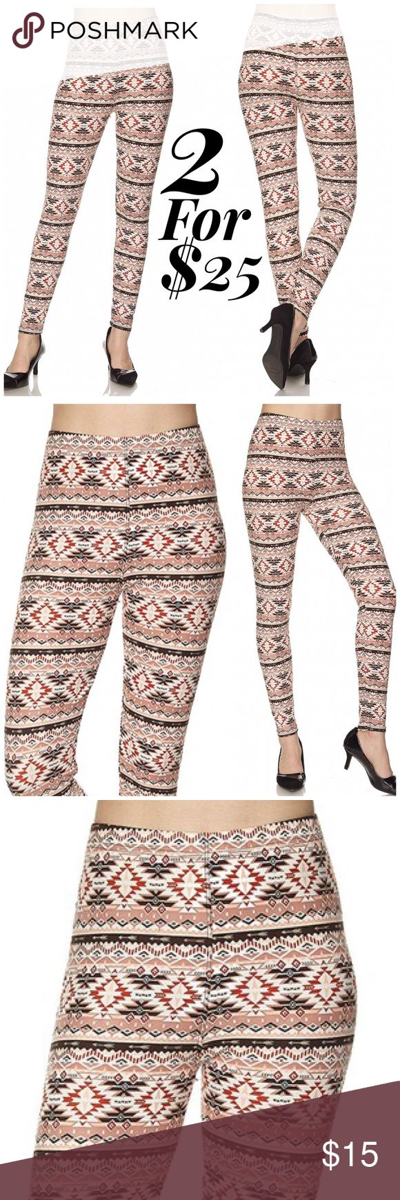Aztec Print Brushed Ankle Leggings Get cozy with this cute and super soft brushed legging, featured in an Aztec Print . With its smooth, comfortable fit. Wear these with a dressy top and a sexy pair of heels for a classy going out look, or an oversized off-the-shoulder top for a casual day ensemble. Paneled elastic waistband Approx. 27 in. inseam 92% polyester, 8% spandex. ONE SIZE FITS MOST (up to XL) please note these are one size leggings. The listing has sizes such as S, M, L, XL for…