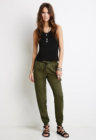 Zippered Drawstring Joggers   FOREVER21 - 2000098483
