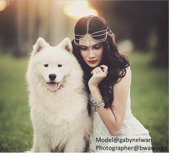 Gypsy Natural Quartz Crystal Silver Head Chain by SpiritsRunFree