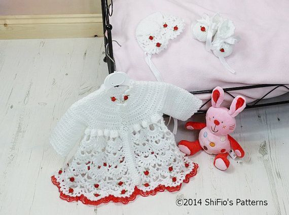CROCHET PATTERN For Flora Rosa Baby Matinee Jacket Hat & by shifio