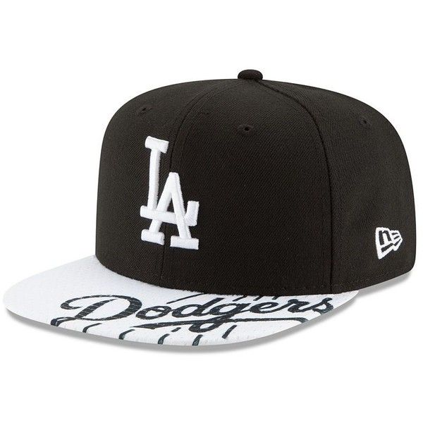 Adult New Era Los Angeles Dodgers 9FIFTY Gym Class Snapback Cap, Black ($30) ❤ liked on Polyvore featuring accessories, hats, black, flat bill cap, flat bill snapback, flat bill hats, flat bill snapback hats and embroidered caps