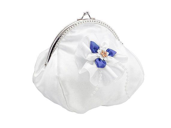 bride handbag bridal white and blue clutch bag by FashionForWomen