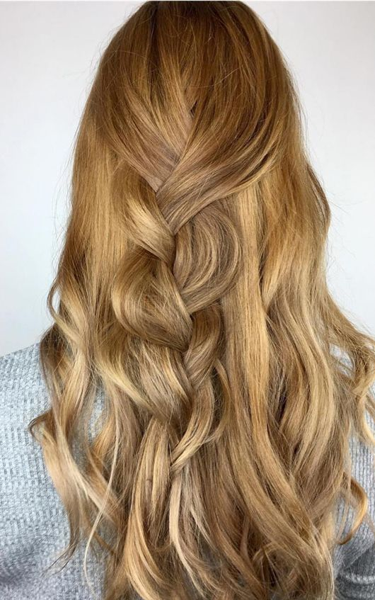 Warm caramel tones are in for spring! Create this look using Wella Koleston Perfect 7/ and 7/03 with 20 volume at the base. Then to create dimension, alternate using Illumina 8/31 + 8/05 and Color Touch 7/73.