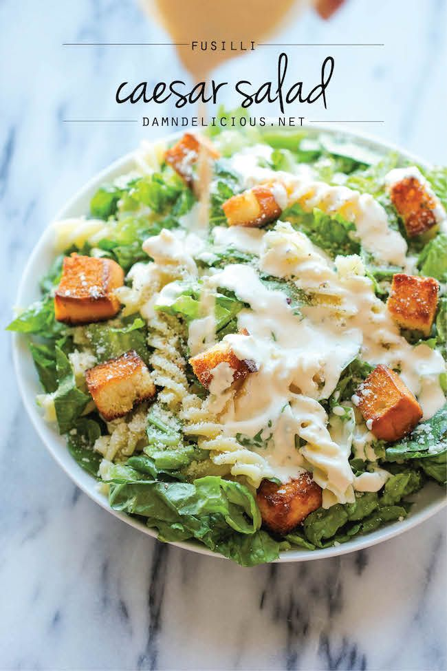 Fusilli Caesar Salad - The best caesar salad with a secret ingredient - sweet, buttery Hawaiian bread croutons! You'll want to eat all of them first before digging into the salad!