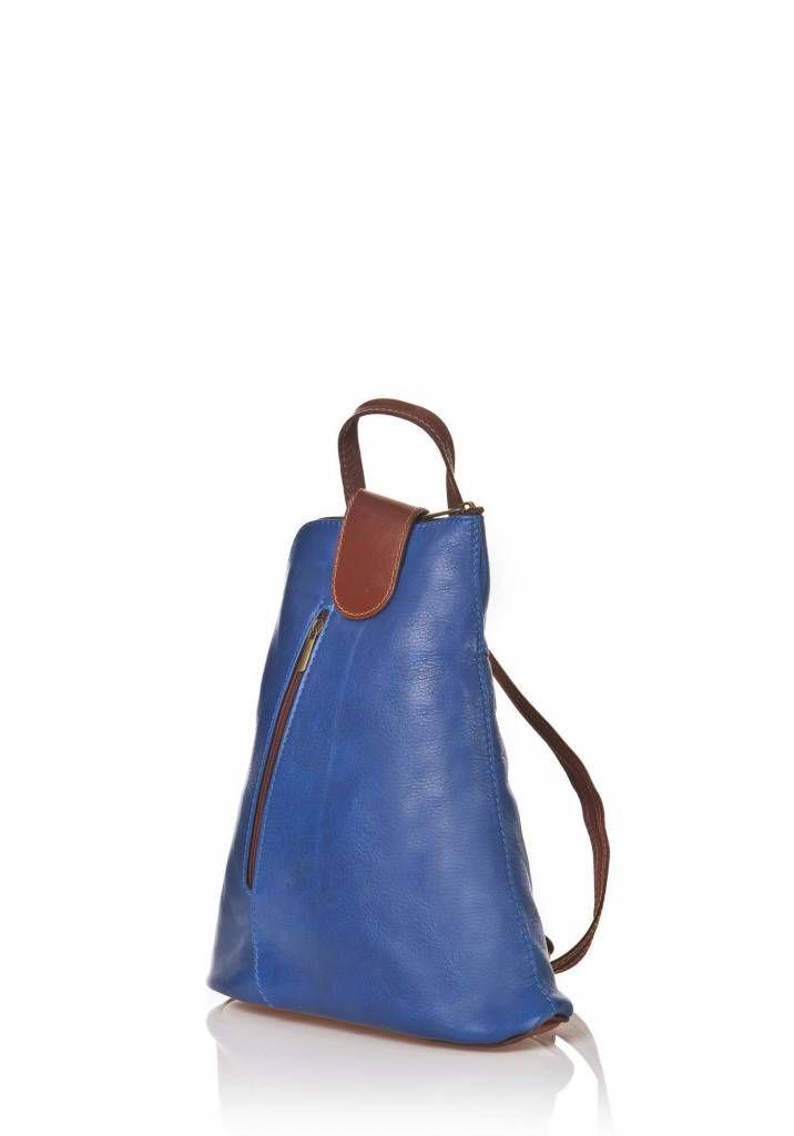 - Trendy rugzak van kalfsleder Electric blauw bruin kleuren