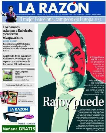 Portada de La Razón emulando el cartel electoral de Obama para ensalzar a Rajoy