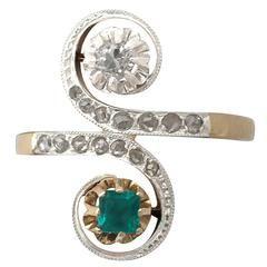 0.21Ct Emerald & 0.38Ct Diamond, 18k Yellow & White Gold Set Twist Ring
