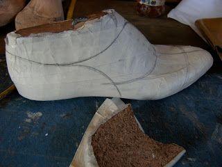 dibuja el modelo del zapato sobre la horma de madera y confecciona los patrones con las correcciones para cada uno de los pies. En caso que el cliente quiera un forro con un diseño particular se realiza un proceso similar al anterior.   Una vez terminados los patrones se pasan a un papel que cubrirá y se montará sobre la horma de madera. Es importante cerciorarse de que el dibujo del papel y su situación en la horma concuerdan perfectamente. Después se corta la piel acorde a las medidas de…