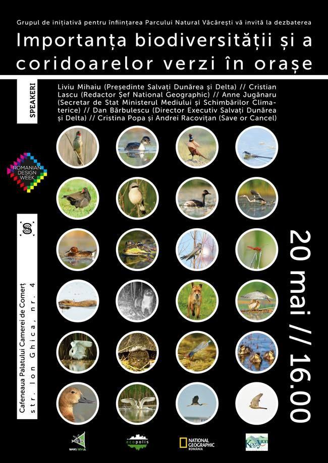 Importanța biodiversității și a coridoarelor verzi în orașe Ion Ghica nr. 4/20 mai/16.00 O dezbatere susținută de către Asociațiai Salvați Dunărea și Delta, alături de reprezentanți ai sectorului non-profit, arhitecți, designeri și autorități publice, în care se va discuta despre importanța proiectului Parcul Natural Văcărești pentru București și despre soluții de amenajare și de dezvoltare sustenabilă a coridoarelor verzi în orașe.