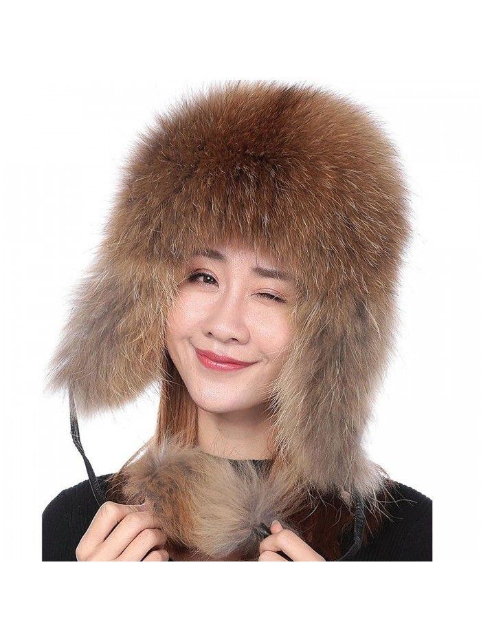 36797966b Womens Winter Real Fox Fur Hat Genuine Leather Russian Trapper ...