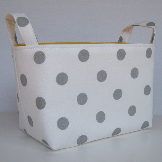 Storage and Organization - Fabric Basket Container Bin - White with Gray Polka Dots on Etsy, $18.00