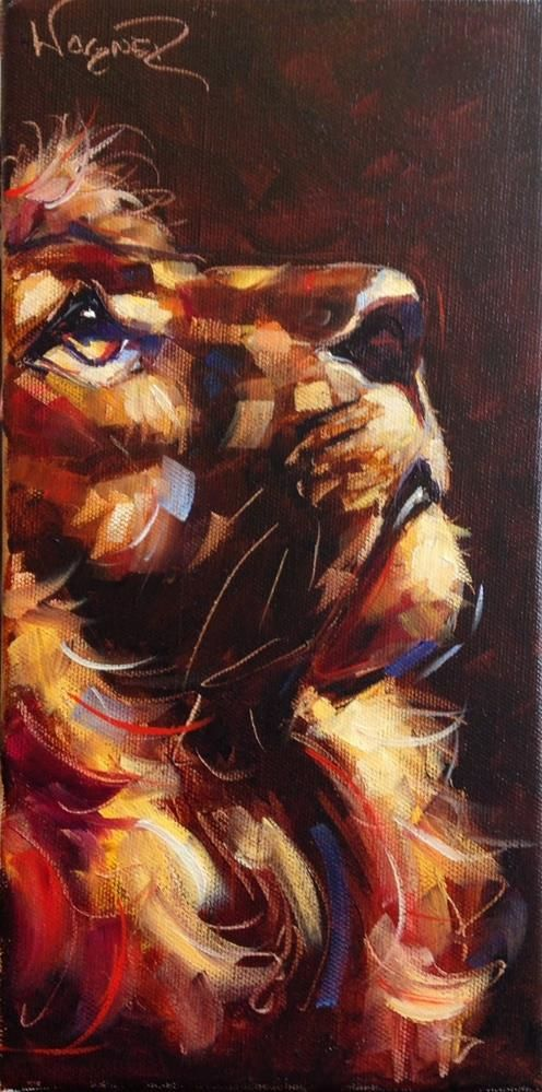 """""""CONTEMPORARY LION PAINTING in OILS by OLGA WAGNER"""" original fine art by Olga Wagner"""