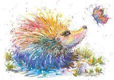 Watercolour Painting HAPPY HEDGEHOG by Sophie Appleton replica of Original