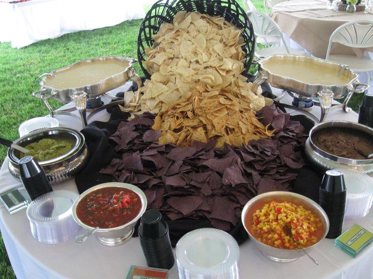 Wedding Nacho Bar- with Mango Salsa, Queso Cheese Dip, Black Bean Dip, Guacmole, and Salsa. Knoxville-Wedding-Catering