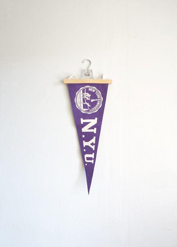 Vintage NYU New York University Felt Pennant by CaprockVintage