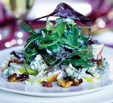 `Vegetarian Starter: Pear, date & walnut salad with creamy Stilton dressing