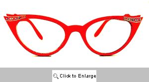 Fete Jeweled Cat Eye Glasses - 539 Red
