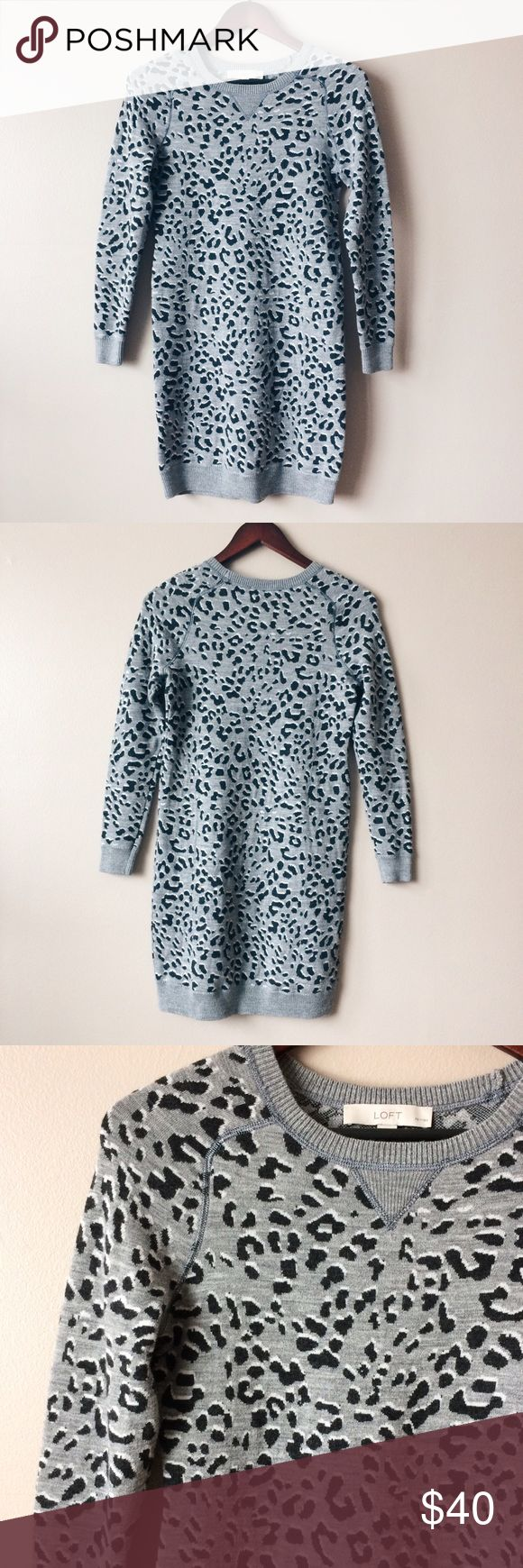 Animal print sweater dress LOFT animal print sweater dress Size XS petite  -Material: 40 acrylic, 30 wool, 30 polyester  -Form fitting  -Excellent condition LOFT Dresses